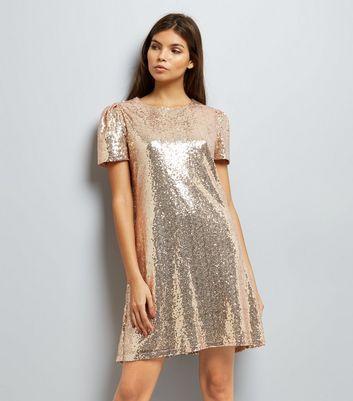 Mela Gold Sequin Cap Sleeve Dress New Look