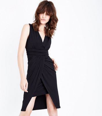 Mela Black Wrap Front Waterfall Dress New Look