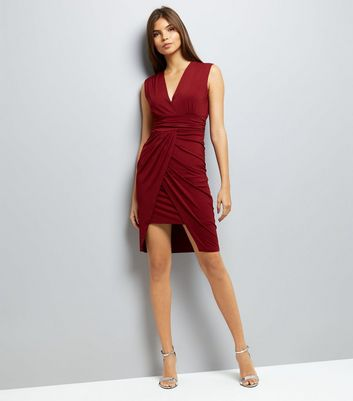 Mela Red Wrap Front Waterfall Dress New Look