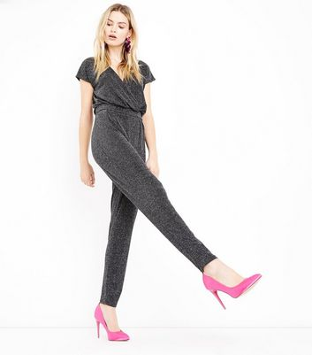 Mela Silver Glitter Wrap Front Jumpsuit New Look