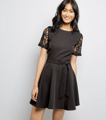 Mela Black Lace Sleeve Dress New Look