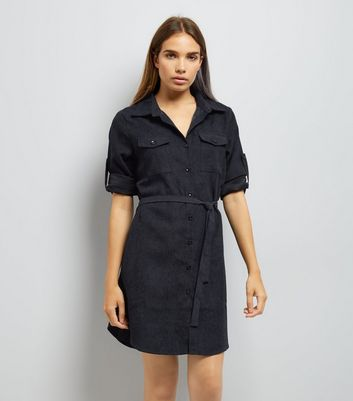 Mela Navy Shirt Dress New Look
