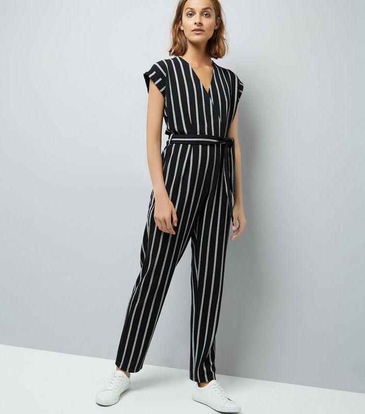 d2a3dc001017 Mela Black Stripe Wrap Front Jumpsuit
