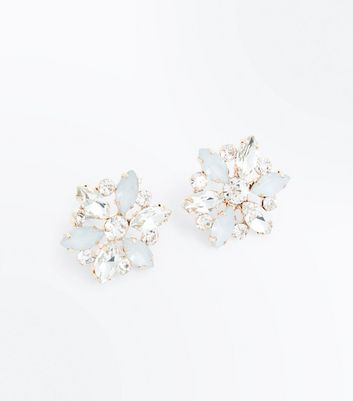 Gold Gem Embellished Flower Stud Earrings New Look