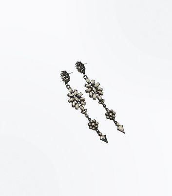 Black Diamante Flower Drop Earrings New Look