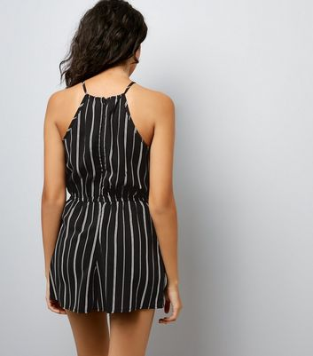 Cameo Rose Black Stripe Playsuit New Look