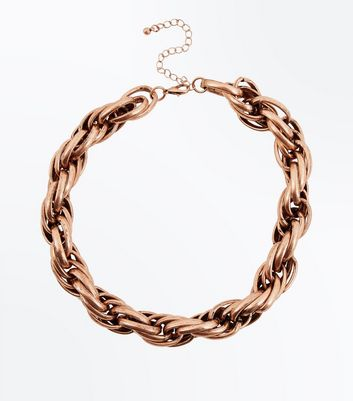 Gold Chunky Twisted Rope Necklace New Look