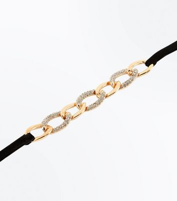 Gold Embellished Chain Choker New Look
