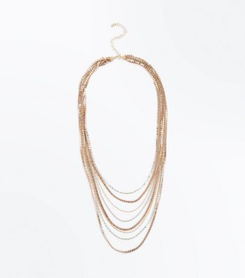 Metallic Layered Textured Chain Necklace New Look
