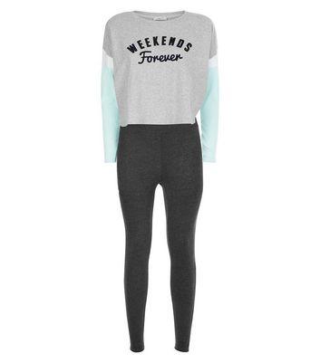 Teens Grey Weekends Forever Slogan Pyjama Set New Look