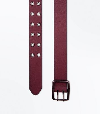 Burgundy Double Hole Belt New Look