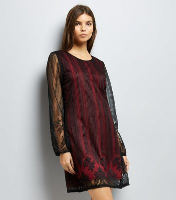 Mela Burgundy Lace Overlay Tunic New Look