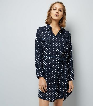 Mela Navy Polka Dot Shirt Dress New Look