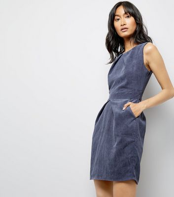 Mela Navy Cord Tulip Dress New Look