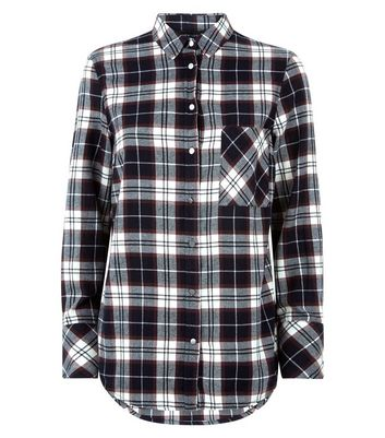 Navy Check Single Pocket Shirt New Look