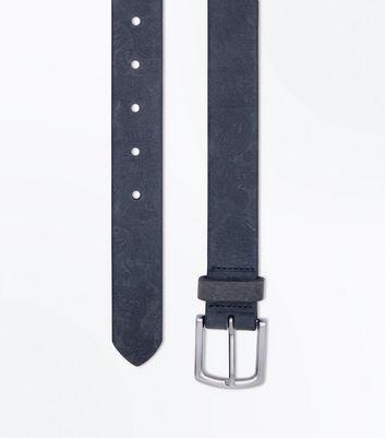 Grey Paisley Embossed Belt New Look