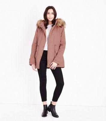Pink Faux Fur Trim Parka New Look