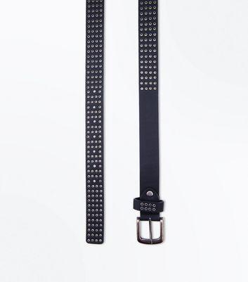 Black Mini Eyelet Belt New Look