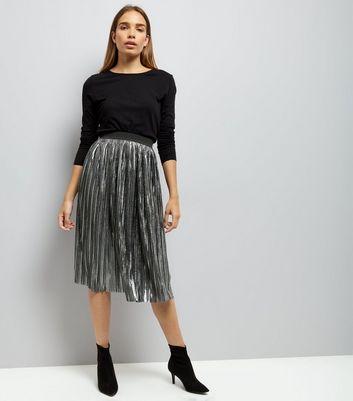 Mela Dark Grey Metallic Pleated Midi Skirt New Look