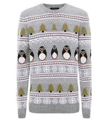 Pale Grey Penguin Christmas Jumper New Look