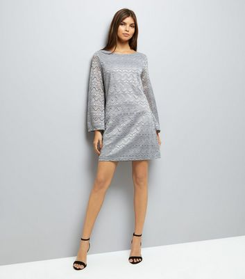 Mela Grey Lace Flared Sleeve Dress New Look