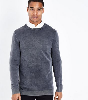 Dark Grey Acid Wash Jumper New Look