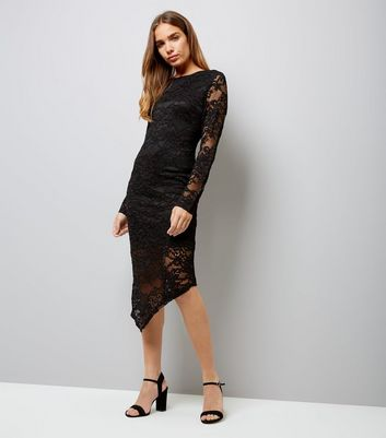 Mela Black Lace Long Sleeve Midi Dress