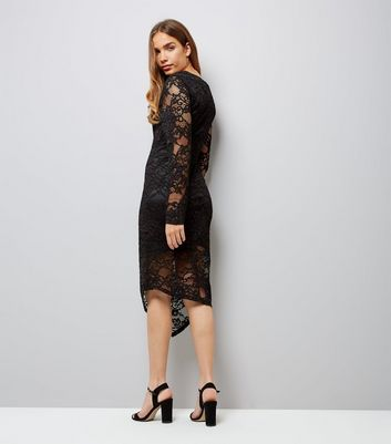 Mela Black Lace Long Sleeve Midi Dress New Look