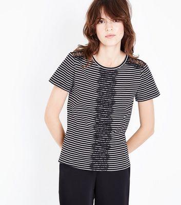 Black Stripe Lace Panel T-Shirt New Look