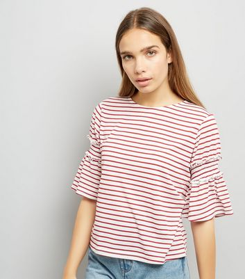 Red Stripe Shirred Bell Sleeve T-Shirt New Look