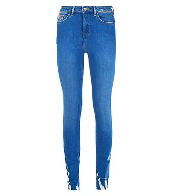 Tall Blue Ripped Hem Skinny Jeans New Look