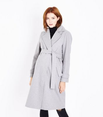 Maternity Pale Grey Faux Fur Collar Belted Coat New Look