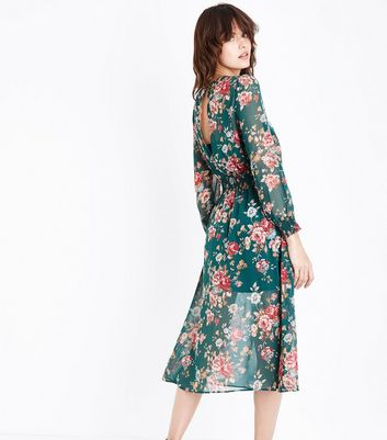 Green Chiffon Floral Print Midi Dress New Look