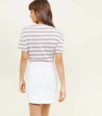 White Denim Button Front A-Line Skirt New Look