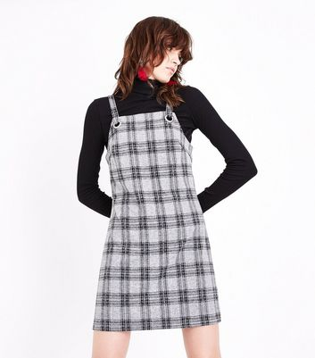 Light Grey Check Pinafore Dress New Look