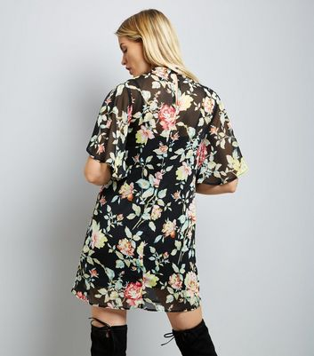 Black Floral Choker Neck Flutter Sleeve Tunic Dress New Look