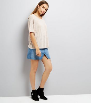 Mink Textured Boxy T-Shirt New Look