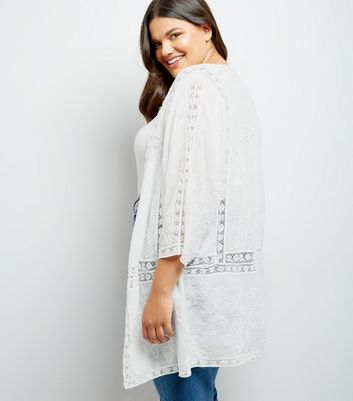 Curves White Lace Insert Embroidered Kimono New Look