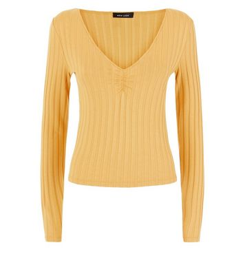 Mustard Yellow Ribbed V Neck Top New Look