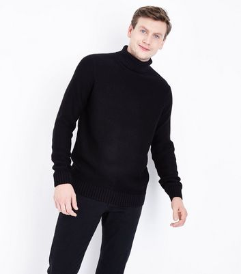 Black Chunky Roll Neck Jumper New Look