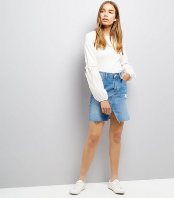 Off White Tie Puff Sleeve Top New Look