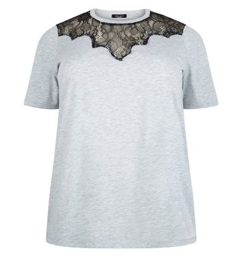 Curves Grey Scallop Lace Yoke T-Shirt New Look