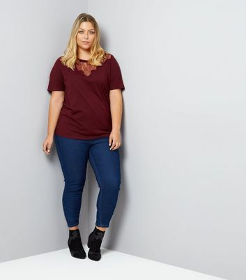 Curves Burgundy Scallop Lace Yoke T-Shirt New Look