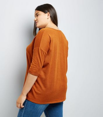 Curves Brown Fine Knit Longline Top New Look
