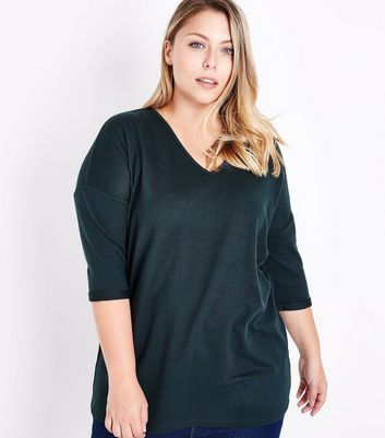 Curves Dark Green V Neck Fine Knit Top New Look