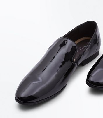 Black Patent Leather Look Loafers New Look