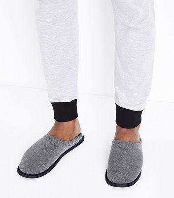 Navy Mule Slippers New Look