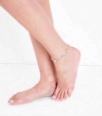 Rose Gold Embellished Drape Anklet New Look