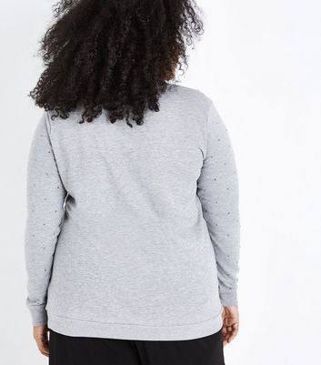Curves Grey Gem Embellished Sweatshirt New Look