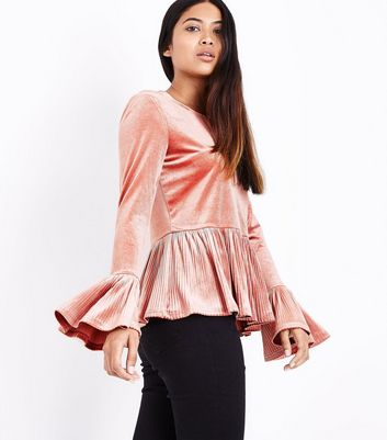 Petite Pink Velvet Plisse Trim Top New Look